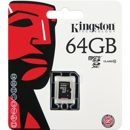 Kingston minneskort, microSDXC, 64GB, micro Secure Digital eXtended Capactiy, Class 10