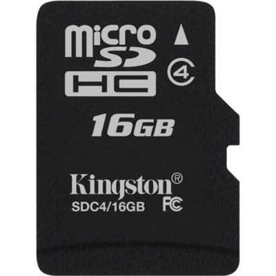 Kingston minneskort, microSDHC, 16GB, micro High-Capactiy, Class 4