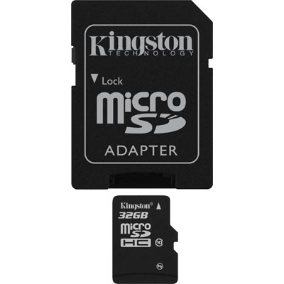 Kingston minneskort, microSDHC, 32GB, micro SDHC-adapter, Class 10