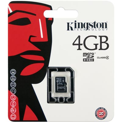 Kingston minneskort, microSDHC, 4GB, High-Capactiy, Class 4