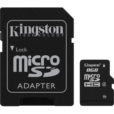 Kingston minneskort, microSDHC, 8GB, SDHC-adapter, Class 4